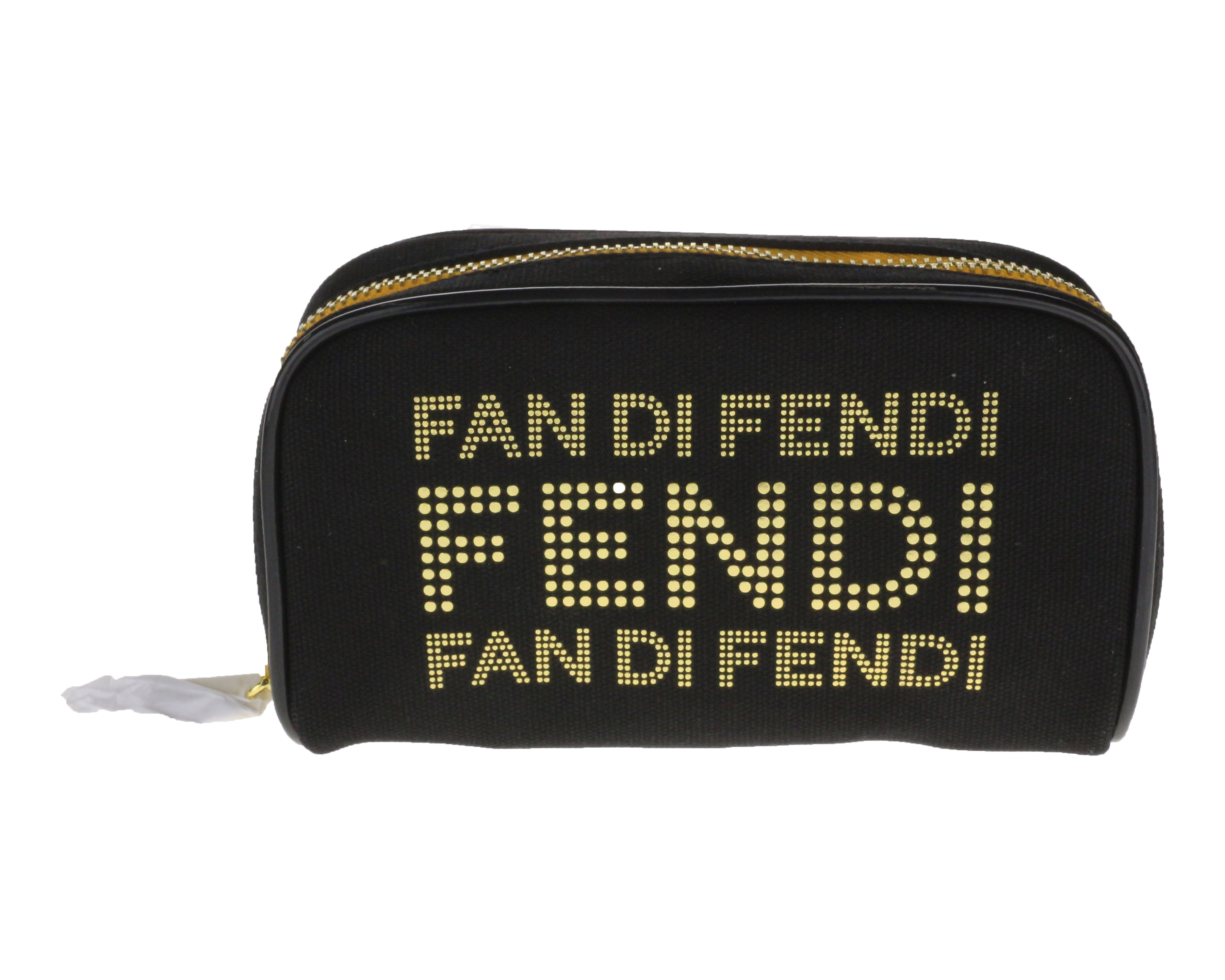7a83bd271c Details about Fan Di Fendi Black And Gold Leather Trousse Pouch (6